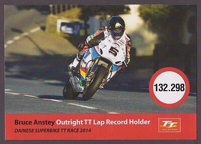 Bruce Anstey 2014 Isle Of Man Tt Outright Lap Record Postcard  *free P&p