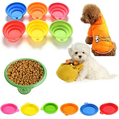 Pet Dog Cat Portable Silicone Collapsible Feeding Bowl Water Dish Feeder EUSS
