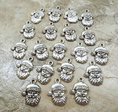 Set of 20 Pewter Santa Face Charms - 5310