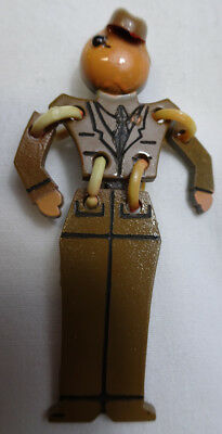WWII US Army Soldier Buddies Homefront Pin Plastic Jointed Arms/Waist in Uniform