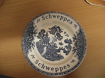 SCHWEPPES Wedgewood china drinks coaster, blue Willow Pattern.