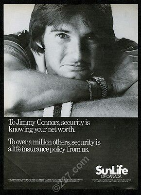 1981 Jimmy Connors photo SunLife Sun Life Insurance vintage print ad