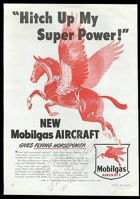 1946 Pegasus flying horse art Hitch Up My Super Power Mobil gas vintage print ad