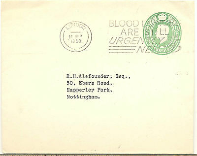 GB 1953 postal stationery cover from London to Nottingham