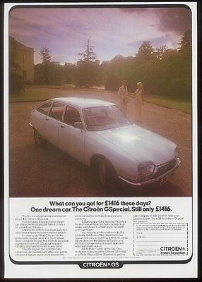 1975 Citroen GSpecial white car photo UK vintage print ad