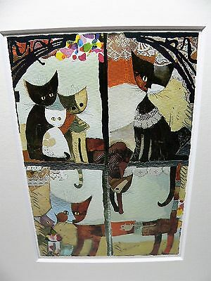 """Rosina Wachtmeister 7 Cat Picture With Silver Foil - 9.5 X 11.75"""" Matted Print"""