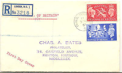 GB 1951 Festival of Britain pair on plain Registered first day cover