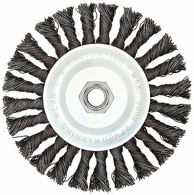 Weiler Vortec Pro Wide Face Wire Wheel Brush, Threaded Hole, Carbon Steel, Full