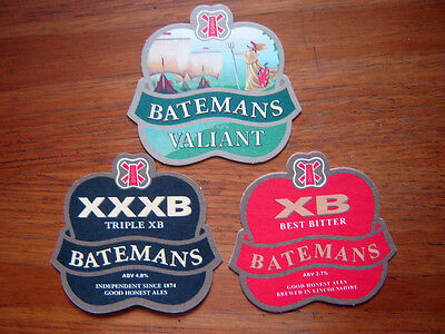 3  Different  Batemans   Brewery   Beer  Mats / Coasters  New