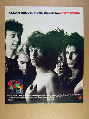 1986 the Rolling Stones band photo Dirty Work album promo vintage print Ad