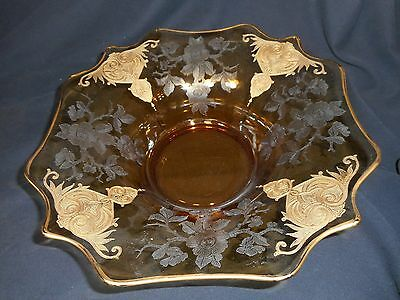 Cambridge Glass Amber Apple Blossom #3400 large Console Bowl Gold trim 13""