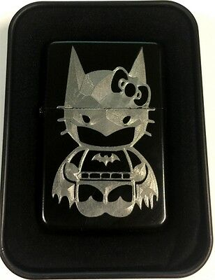 Hello Kitty Batman Black Engraved Cigarette Gift Lighter LEN-0188