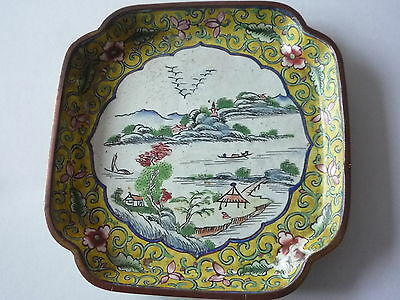 Antique/Old Chinese Hand Painted Landscape Cloisonne Small Plate