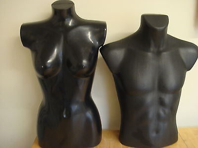 A pair of Bust Shop Display Dressmakers Dummy Mannequin male and female