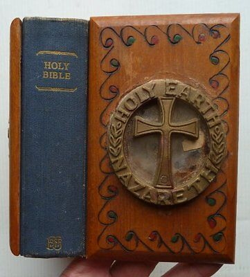 An Old Bible With Wooden Covers With Earth From Nazareth In The Covers