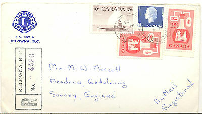 Canada 1965 Registered cover from Kelowna to Suurey