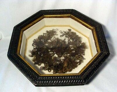 Antique Victorian Woven Hair Wreath In Shadow Box Frame With Name**wow!!