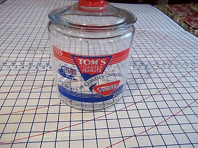 EXC! Rare TOM'S PEANUTS 75th (1925-2000) Anniversary Lg Glass Jar w/Lid