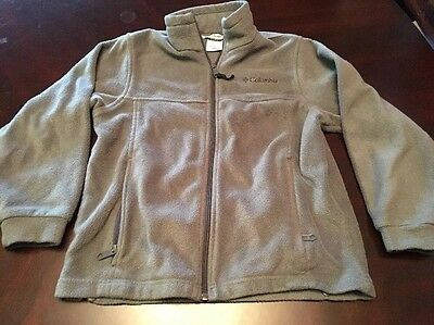 Boys Or Girls Columbia Fleece Jacket Full Zip, Light Gray, Medium 10-12