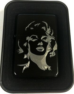 Marilyn Monroe Black Engraved Cigarette Gift Lighter LEN-0190