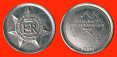 AUSTRALIA:- QEII Silver Jubilee Exhibition train medallion, dated 1977 ADP5625