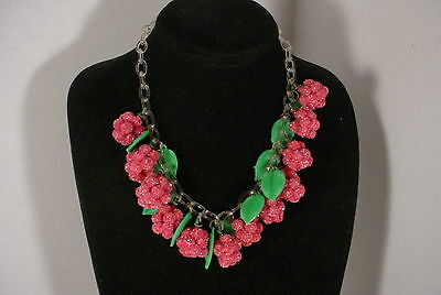 Vintage Pink RASPBERRY Berries Fruit Celluloid Chain Choker Necklace Sugar Beads