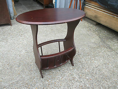 Retro Oval Mahogany Magazine Newspaper Rack Side End Table May Deliver