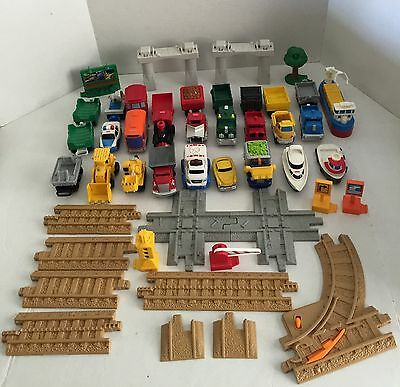 Large Lot Of Geo Trax Cars/signs/track Used