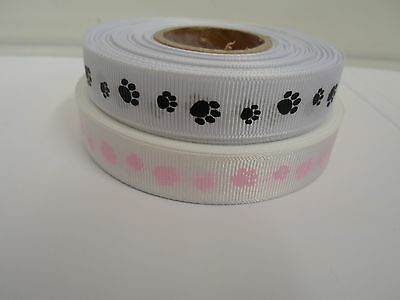 2 metres or 20 metre full roll 16mm Paw Print Grosgrain Ribbon Dog Prints UK VAT