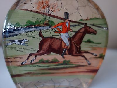 Art Deco ! Horse Rider In Forest Scene Enamel Decorated Glass  Decanter