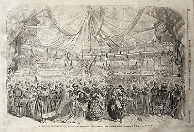 Orig 1864 MASQUERADE BALL New Orleans EARLY MARDI GRAS PRINT-INDEPTH! Carnival