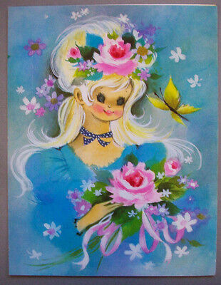 Vintage Girl with Butterfly Flowers Roses Birthday card B1*