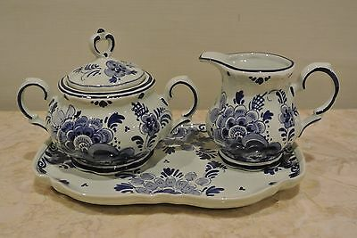 Vintage Blue Delft Made in Holland Creamer and Sugar Bowl with Tray