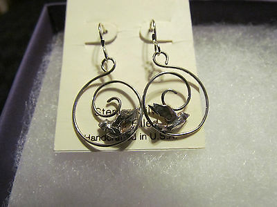 New in Box Sterling Silver Bird in Hoop Earrings