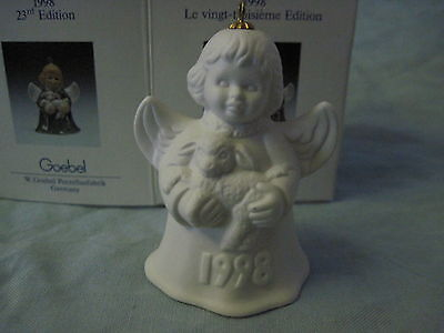 1998 Goebel ANGEL BELL ORNAMENT White Bisque with Lamb in Box FREE SHIPPING