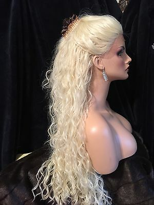 """DREAMY 32"""" LONG Platinum Blonde Lace Front ANGELIC Spiral Curl Wig!"""