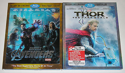Blu-ray 3D Blu-ray Lot - Marvel's The Avengers (Used) THOR The Dark World (Used)