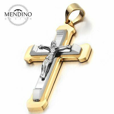 MENDINO Men's Stainless Steel Pendant Necklace Nailed Juses Crucifix Cross Gold