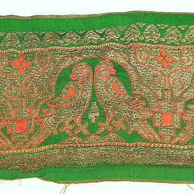 3m (10 foot) LONG Old Antique India SARI Saree TRIM Embroidered Textile 652p8