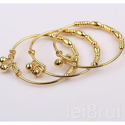 Real 24k Yellow Gold Filled Baby's Children's Bangle Bracelet Jewelry Gift