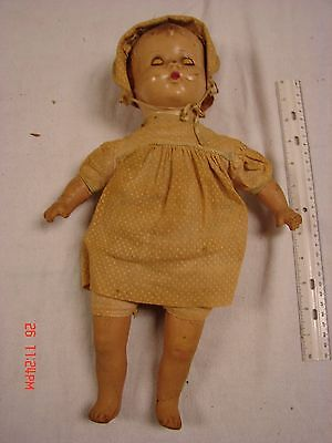 Vintage Composition Head Arms Legs Doll 15 Inches Tin Blue Eyes Stuffed Body