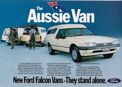 1984 FORD XF FALCON VAN Standard and GL 2 Page Brochure & Specifications Sheet