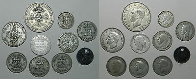 Great Britain : 10 Old Silver Coins