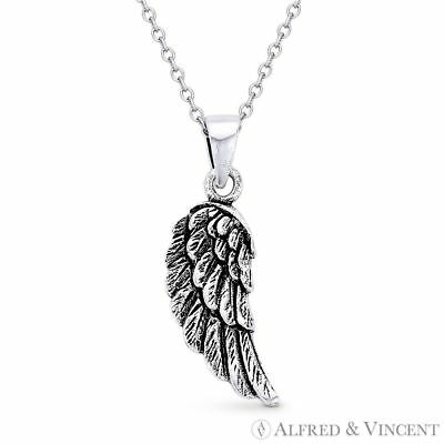 Angel's / Eagle Wing Antique-Finish 925 Sterling Silver Charm Pendant & Necklace