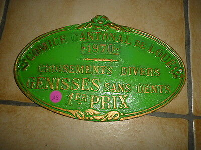 French Vintage Agriculture Plaque Trophy Award Animals Prize Sign Cow Horse
