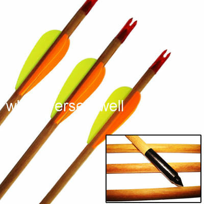 "5 x 30"" WOODEN ARROWS Archery steel BLACK TIP Arrow"