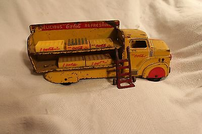MARX COCA-COLA TRUCK WITH 5 COKE CASES and hand truck