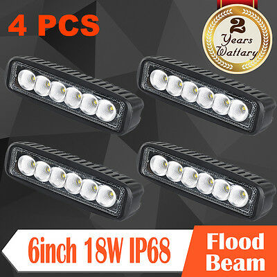 "4x 6""inch 18W CREE LED Work Light Bar Spot/ Flood Offroad Pickup ATV Driving 12V"