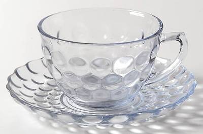Anchor Hocking BUBBLE BLUE Cup & Saucer 5643
