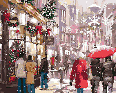 Paint by Number kit Merry Christmas Holiday Traditional Festival Street DY7127